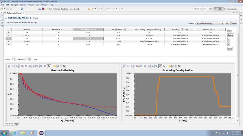 ICE's new Neutron Reflectivity Calculator showing the material table and the output plots.
